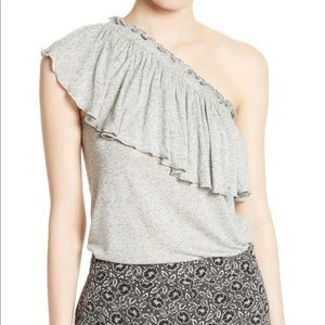 Rebecca Taylor | NWT Gray One-Shoulder Top Size M